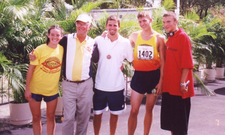 Merideth Snow, Coach Wissler, Coach Carne, Ben DeLay, and Jack Lemke