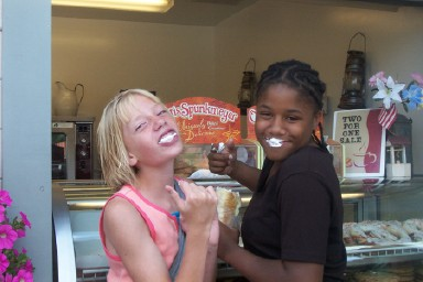 Emily and Brittani enjoy a cool treat at Six Flags