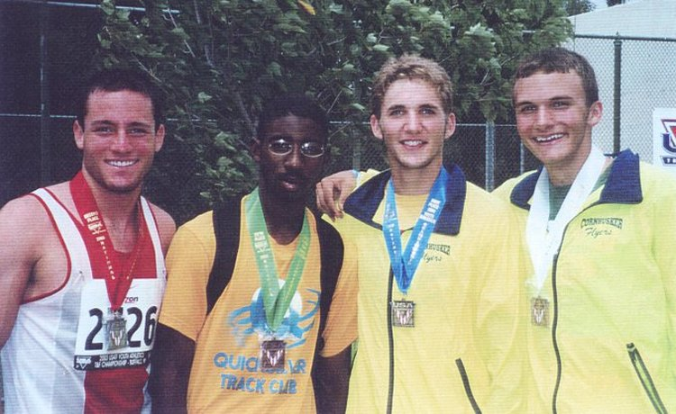 Greg and Jack, and two kids they beat, with their medals